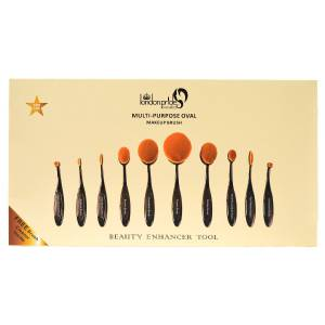 London Pride Multi-Purpose Oval Brush 10 pcs Set  Black   G